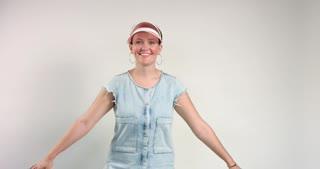 happy smiling daincing woman