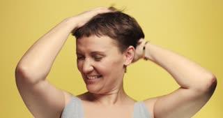 sleepy 30s woman with a short haircut