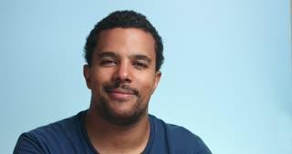 wow surprized portrait of black mixed race man