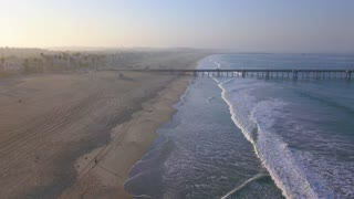 Aerial view of the pier in Los Angeles near Venice beach