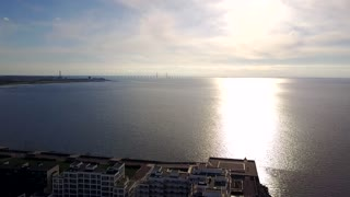 Amazing aerial view from the Malmo Western Harbour on the sunset and the bridge to Copenhagen.