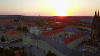 Amazing aerial view of the Prague city from above. Gorgeous city landscape sunset view. Prague panoramic view with the castle.