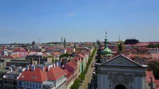Beautiful aerial city view in Prague