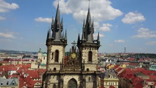 Beautiful aerial panoramic view of the Church of Our Lady before Tyn on Old Town Square of Prague Kostel Panny Marie Pred Tynem