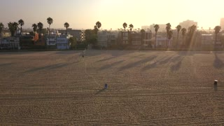 Beautiful sunrise aerial view of the Los Angeles Venice beach from above