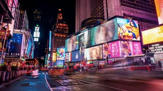 Cars, Traffic and People Crowd Rushing at Times Square at Night. Panoramic Time Lapse.