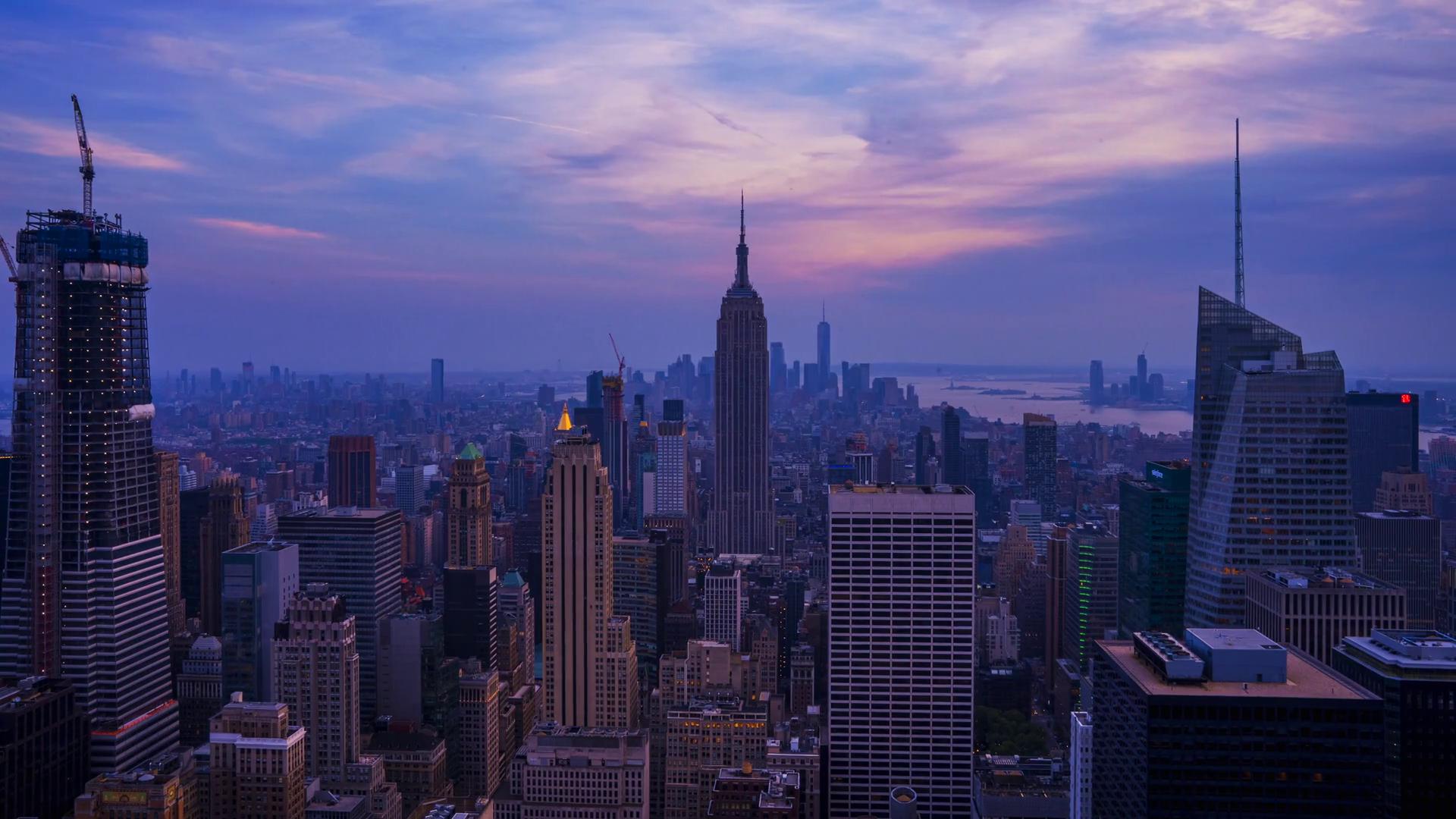 Обои buildings, downtown, skyscrapers, Sunset, сша, new york city. Города