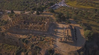Selinunte, Sicily, Italy. Aerial view on the ancient Greek city on the south coast of Sicily, Italy. Temple of Hera ruins of Doric style architecture.