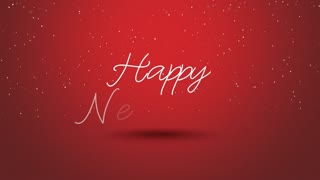 Animated close up Happy New Year text on red background