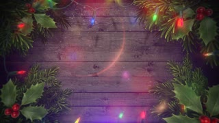 Animated closeup colorful garland and Christmas green tree branches on wood background. Luxury and elegant dynamic style template for winter holiday