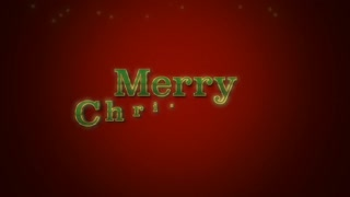 Animated closeup Merry Christmas text on red background