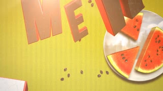 Animated text Summer Time and closeup watermelon on yellow summer background. Elegant and luxury dynamic retro style footage for advertising and promo theme