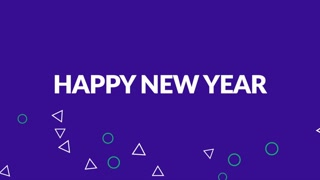 Animation intro text Happy New Year on purple fashion and minimalism background with small geometric shapes. Elegant and luxury dynamic style for business and corporate template