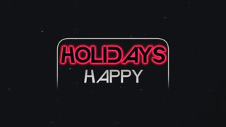 Animation text Happy Holidays and neon text, disco background. Elegant and luxury dynamic style for club and corporate template