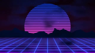 Retro-futuristic 80s synth wave sun grid background  Perfectly seamless  looped opener animation  Motion Background - Storyblocks Video