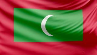 Realistic beautiful Maldives flag 4k