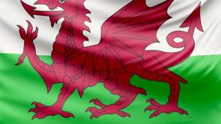 Realistic beautiful Wales flag 4k