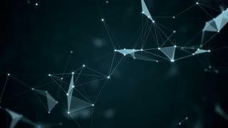 Beautiful abstract geometric background lines and dots, plexus. Slow motion.