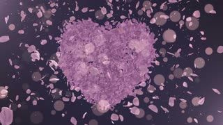 Romantic lilac rose petals fly from the heart. Wedding.