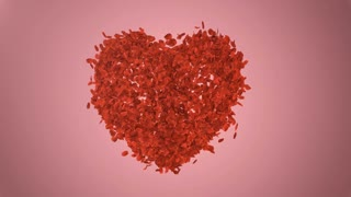 Romantic red rose petals fly from the heart. Wedding.