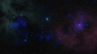 Stars fly past on a background of clouds and gas in space