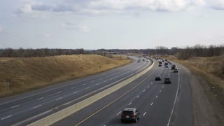 Traffic moving on 407 Toll highway in Ontario Timelapse