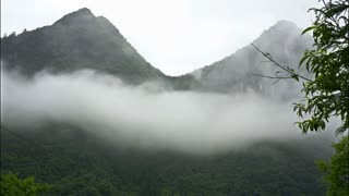 White out timelapse of clouds over mountains in China. Ancient mountain cloudy time lapse drifting on Chinese forested hills on overcast rainy day. Cloudy mist billows across forest covered peaks.
