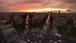View from Arc de Triomphe towards downtown Paris.