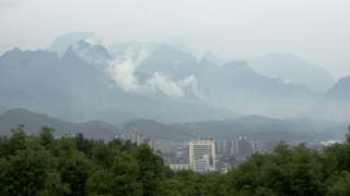Zhangjiajie city and mountain clouds timelapse.