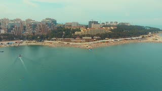 a lot of people on the sea beach. top view