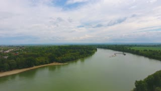 beautiful river, top view, drone 4k