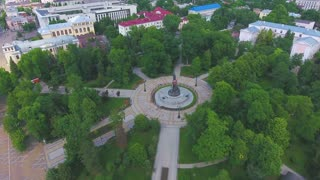 beautiful top view on a sunny park. Drone
