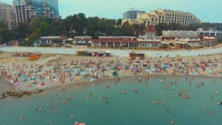 Krasnodar, Gelendzhik/Russia - July 2017: a lot of people on the sea beach. top view