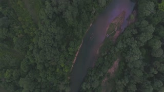 river in the forest, top view, drone 4k