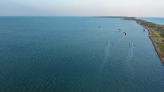 top view of the kiter on the sea