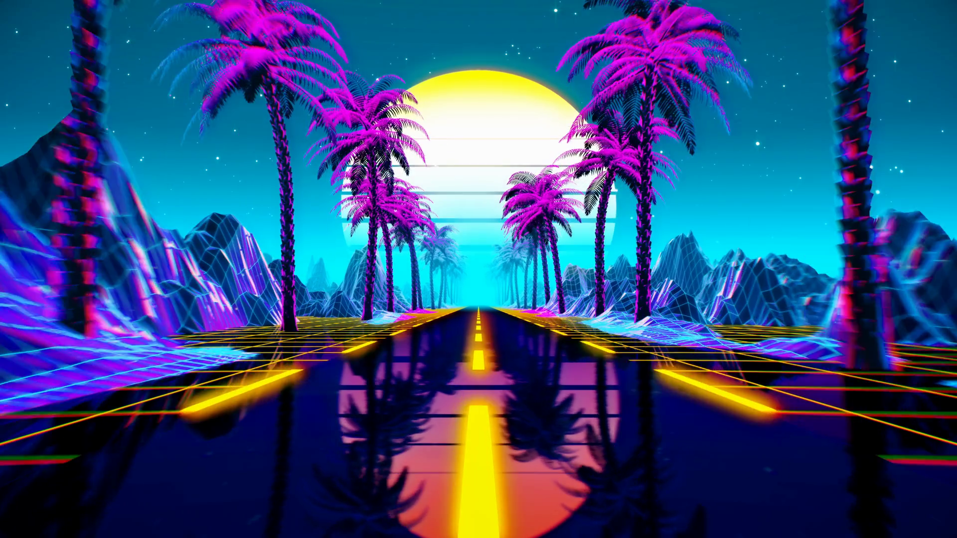 videoblocks 80s retro futuristic sci fi seamless loop retrowave vj videogame landscape neon lights and low poly terrain grid stylized vintage vaporwave 3d animation background with mountains sun and stars 4k hws1g1vl8 thumbnail 1080 01