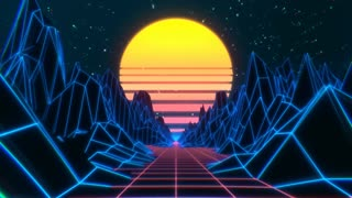 videoblocks 80s retro futuristic sci fi seamless loop retrowave vj videogame landscape with neon lights and low poly terrain stylized vintage 3d animation background with mountains sun and glowing stars 4k sb2 oag88 thumbnail 180 01