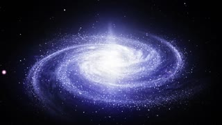 Camera zooms in on a Spiral Milky Way galaxy rotating in space filled with stars and nebulas. Bright galactic core shines, and spiral arms rotate slowly, consisting of millions star systems. Ultra HD