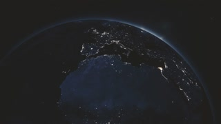 Highly detailed realistic epic sunrise over planet Earth. Europe night city skyline view from space. Globe lits up on morning from the Sun. 3D rendering animation using satellite imagery (NASA) in 4K
