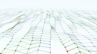 Modern abstract particle surface wave. Wavy grid of bright colorful metal dots creating curved plane. Futuristic 3D animation. Stylized Hi-Tech backdrop with Field of View. Alpha Matte included