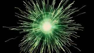 Particle collision and explosion. Bright yellow particles with streams collide and create explosion shockwave with trails. Spherical multicolored explosion with flares isolated on black background. 4K