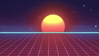 Retro futuristic 80s VHS tape video game intro landscape. Flight over the neon grid with sunrise and stars. Arcade vintage stylized sci-fi VJ motion 3d animation in 4K