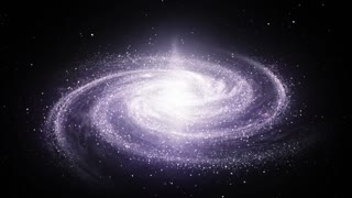 Spiral Milky Way galaxy rotating in space filled with stars and nebulas. Bright galactic core shines, and spiral arms rotate slowly, consisting of millions star systems. 3D CGI animation in Ultra HD.