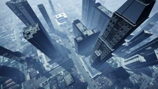 Aerial animation of skyscrapers 4K