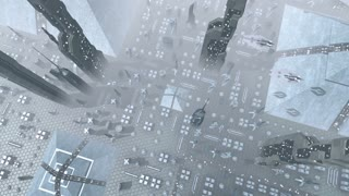 Aerial shot of a futuristic city with spaceships