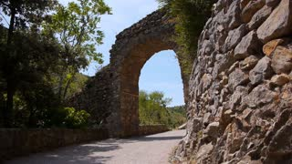 Ancient gate of Castelnou, Beautiful village in south France