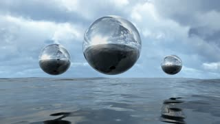 Animated abstract liquid transparent sphere above water loop able. 3D rendering 4K