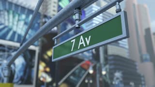 Animated close-up of road sign on Time Square New York Manhattan 4K. 3D rendering