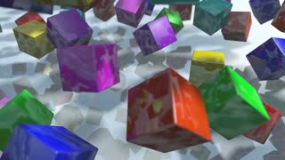 Animated colorful falling cube blocks particles. 3D rendering 4K