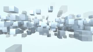 Animated cube shape particles transparent loop able. 3D rendering 4K